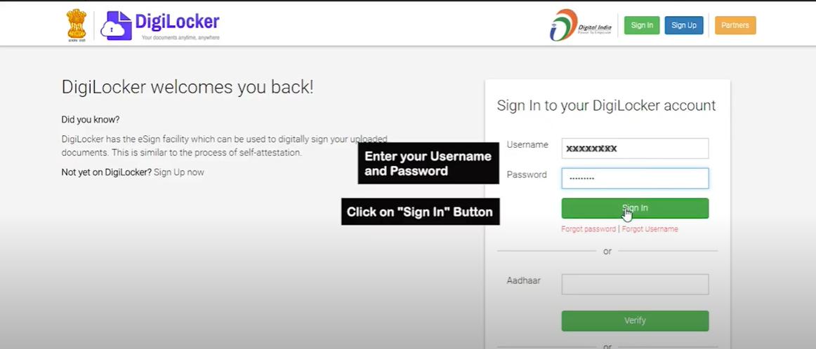 DigiLocker Fetch issued documents step 1