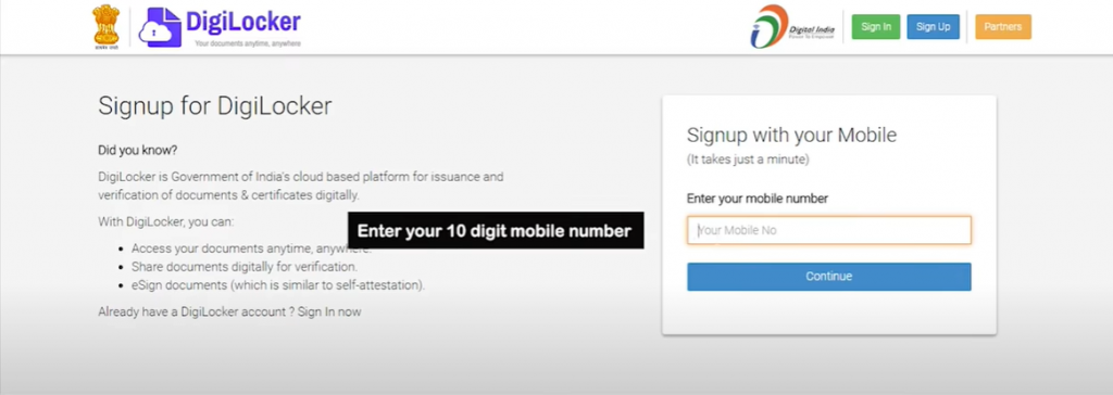 DigiLocker SignUp step-1