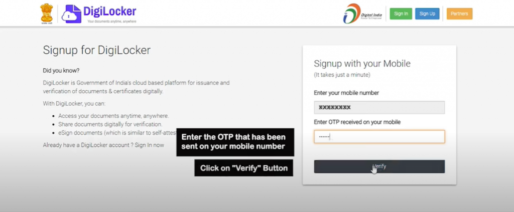 DigiLocker Sign up step 2