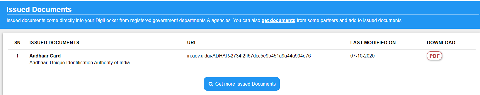 DigiLocker Fetch Issued Documents Step 4