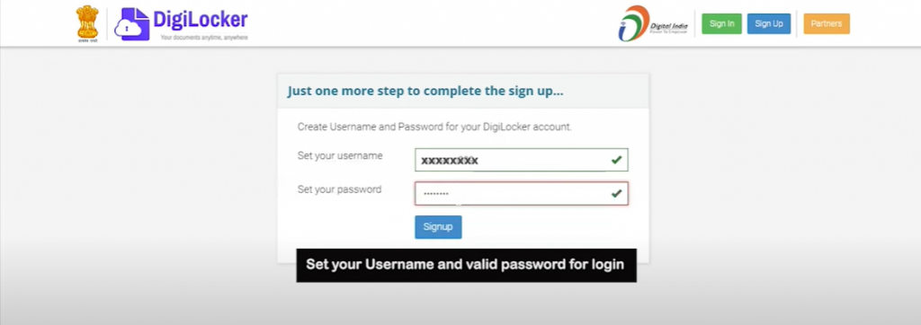 DigiLocker Sign up Step 3