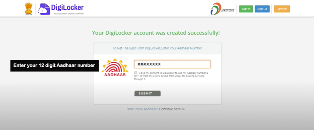 Link DigiLocker with Aadhar step1