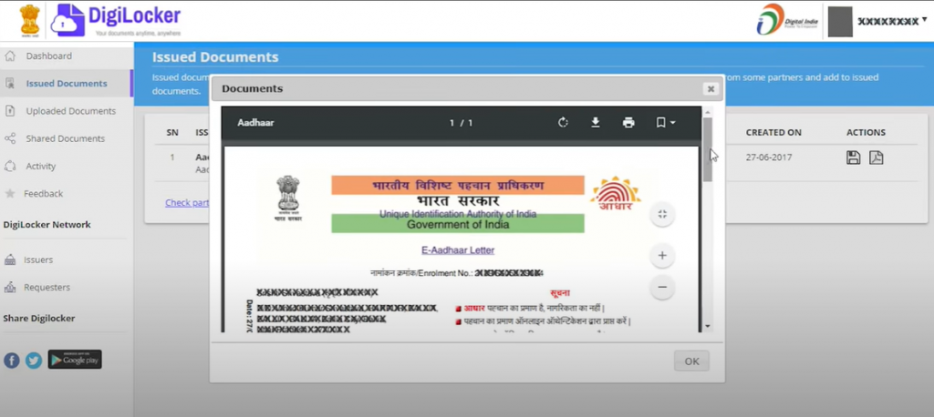 Digital Aadhar on DigiLocker