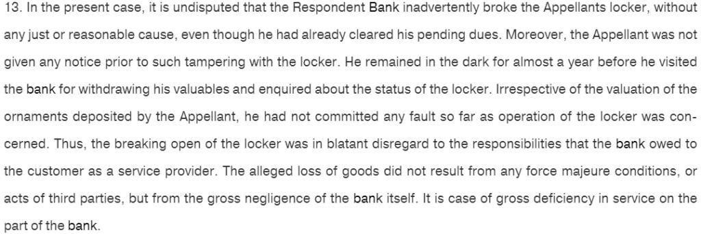 Bank Locker Rules SC Judgment 1
