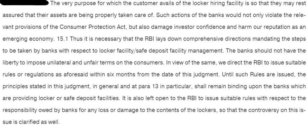Bank Locker Rules SC Judgment 2